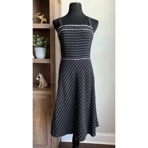LOFT Black Pinstripe Linen A-Line Dress 8